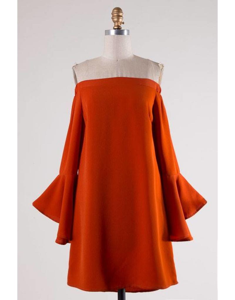 1875d3e1dd49 Rust Off Shoulder Bell Sleeve Dress - Ramsey Rae Boutique