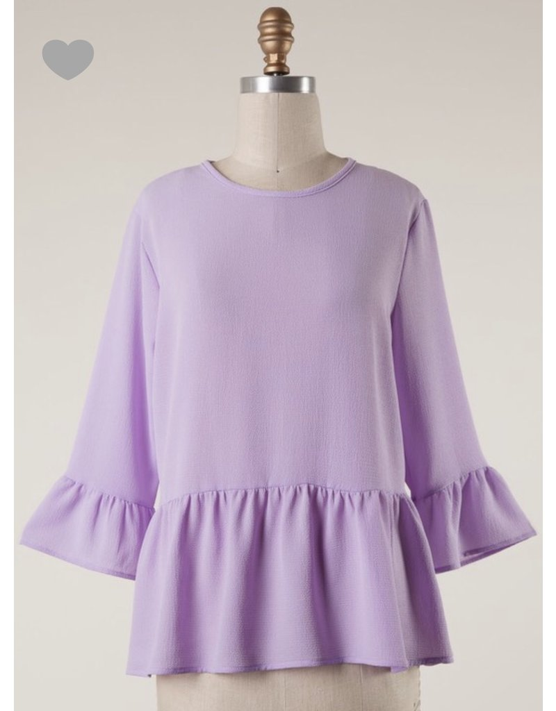 ae1e3257ac1cb0 Lavender 3/4 Bell Sleeve Top - Ramsey Rae Boutique
