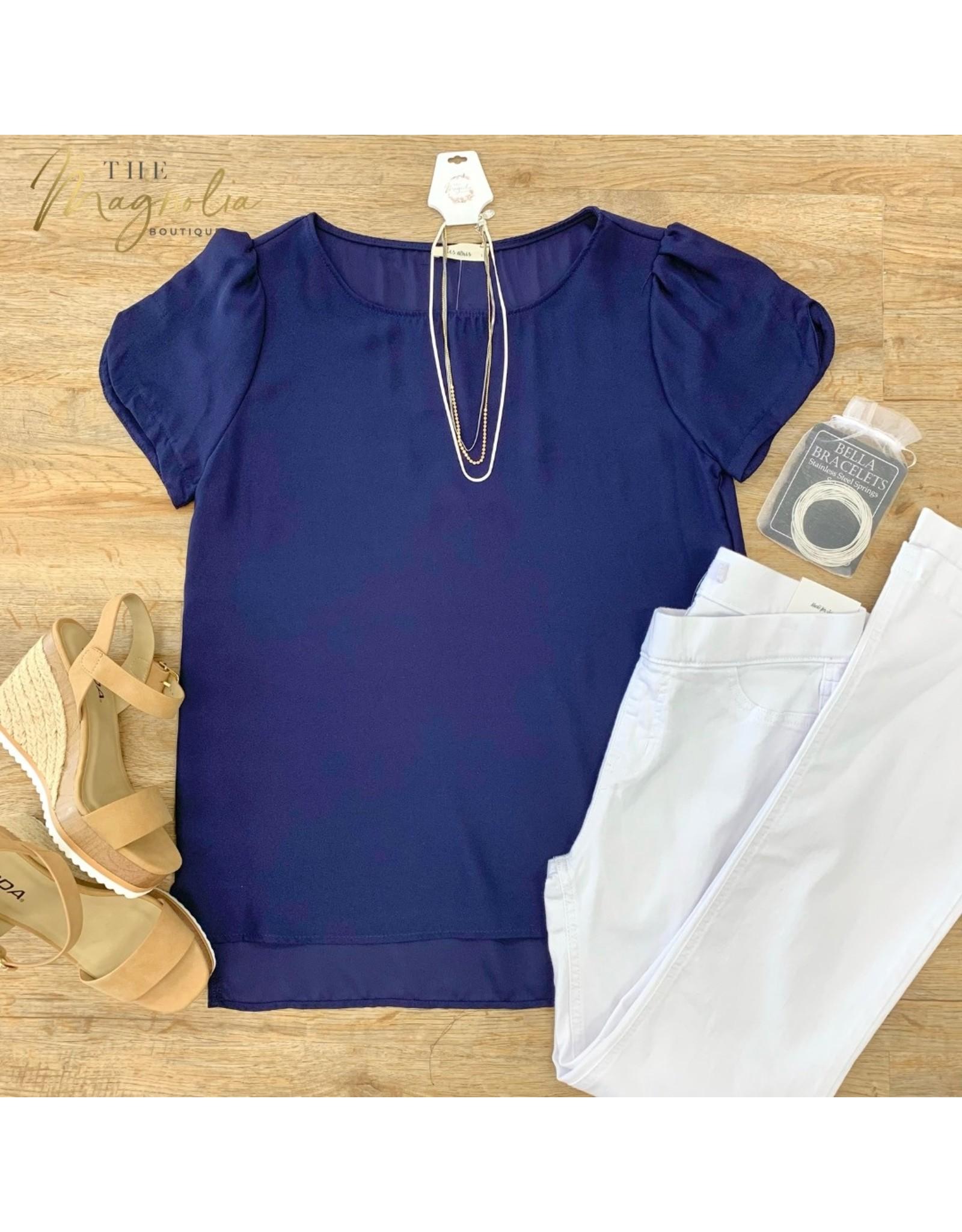 Navy Short Sleeve Top w/ Sleeve Detail