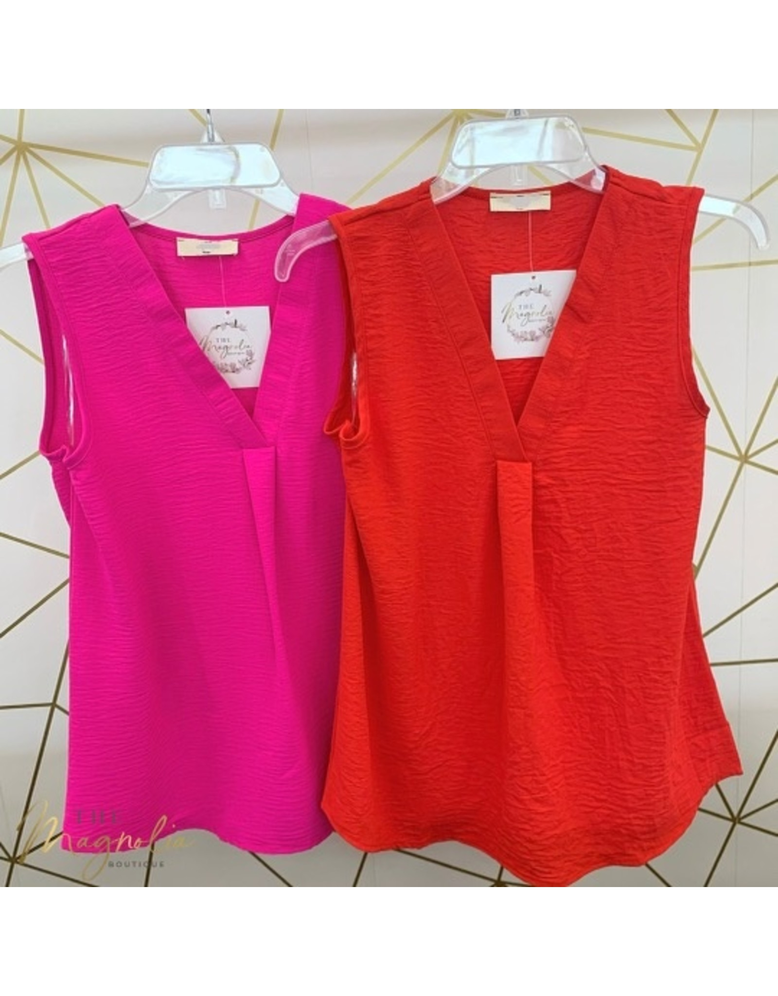 Solid Sleeveless Placket Top - Red