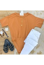 Solid Ribbed Short Sleeve Bodysuit - Clay