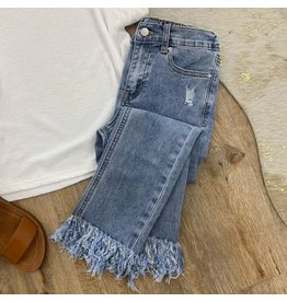 Girls Distressed Frayed Hem Denim Jeans