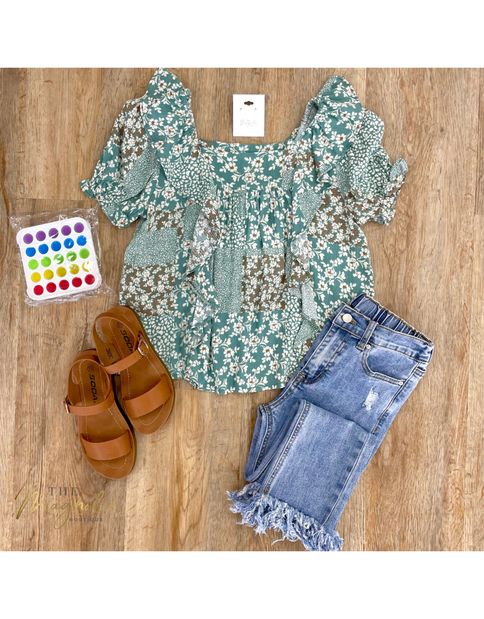 Girls Ruffled Square Neck Patch Print Blouse
