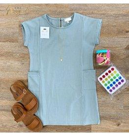 Girls Ribbed Rolled Sleeve Pocket Dress