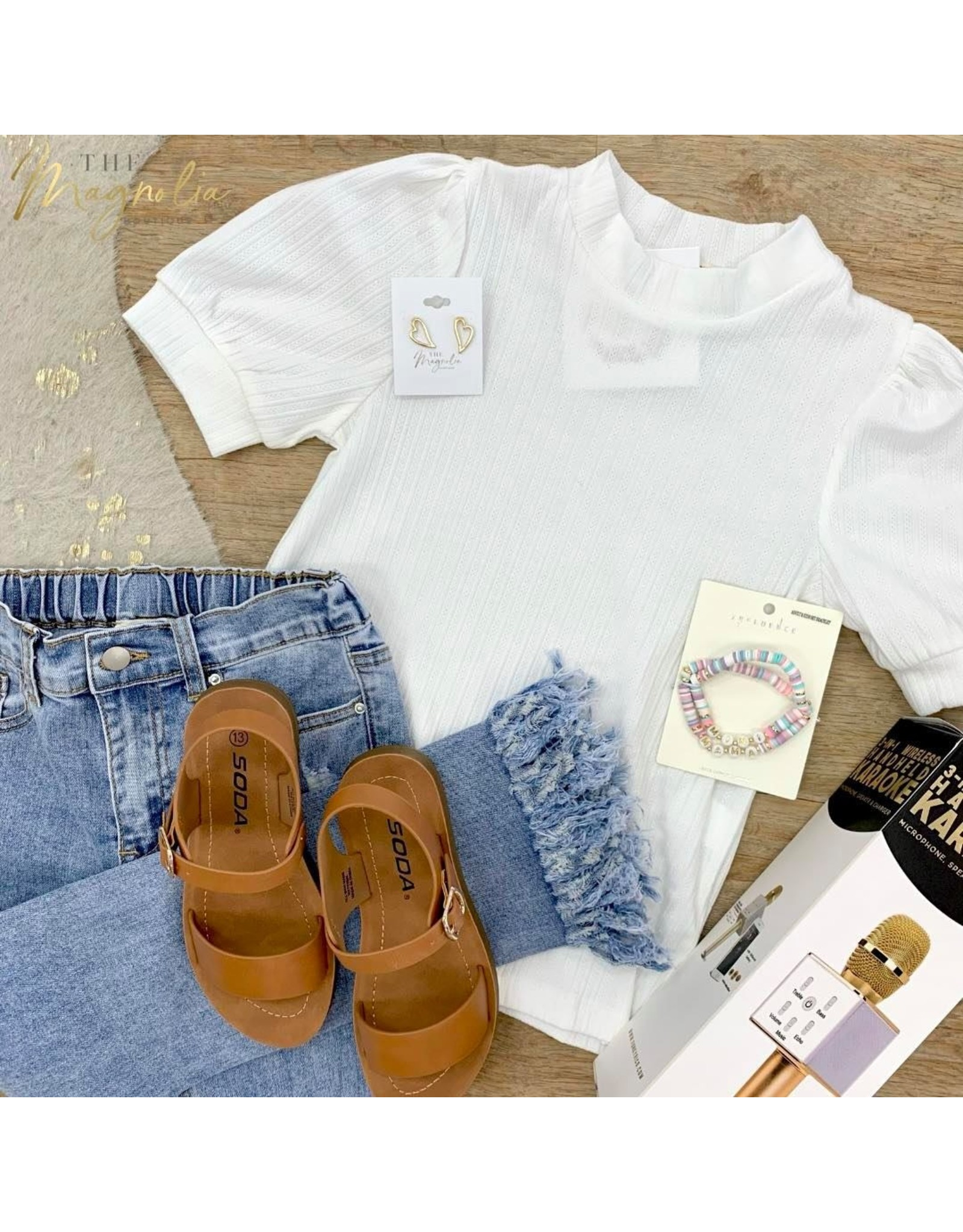 Girls Off White Banded Neck Short Sleeve Top