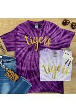 Purple Tie Dye Sequin Tiger Tee