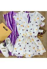 Off White/Purple/Mustard Star Tie Romper