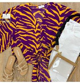 Purple/Mustard Kimono Sleeve Top
