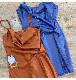 Blue Cowl Neck Cami Dress