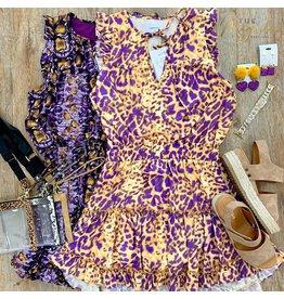 Purple/Lt Gold Animal Print Dress
