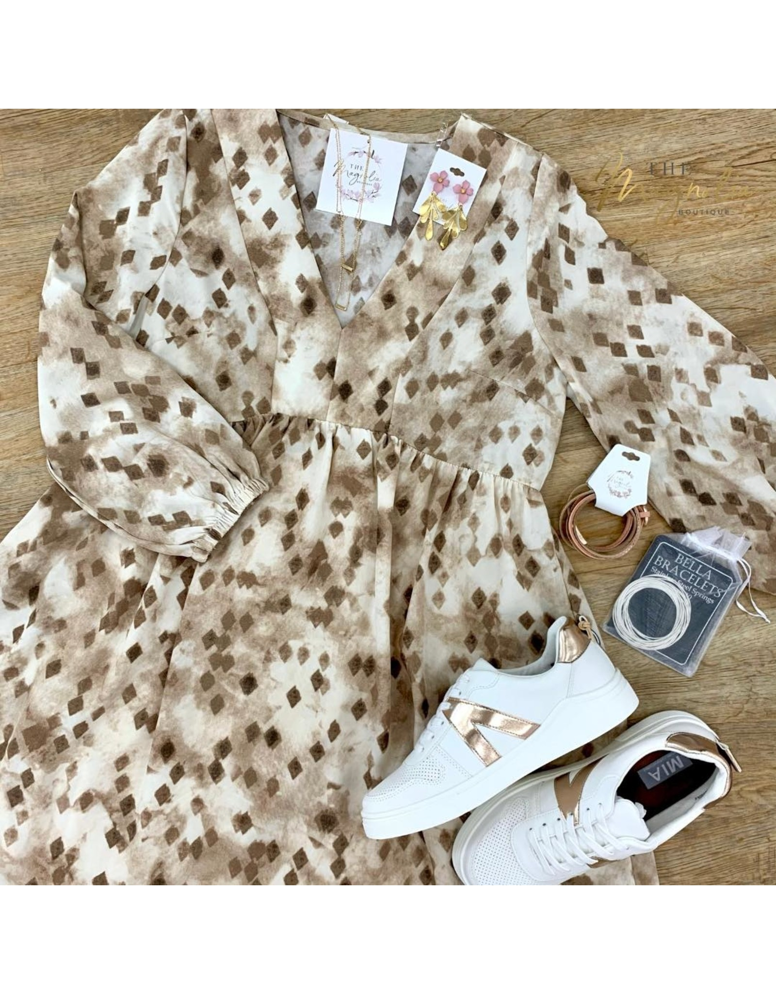 Mocha Print Babydoll Dress