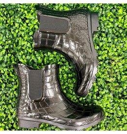 Black Croc Chelsea Rain Boots