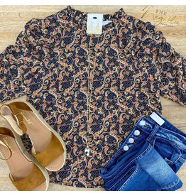 Paisley Flower Print Ruched Top
