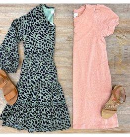 Girls Olive Long Sleeve Ruffle Dress