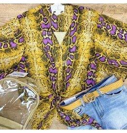 Purple/Mustard Snake Kimono Sleeve Top
