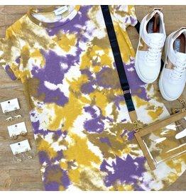 Yellow/Lavender Tie Dye T-Shirt Dress