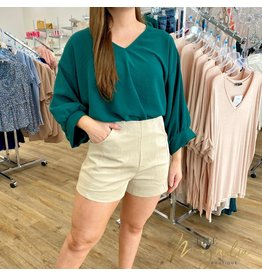 Light Taupe Faux Leather Shorts