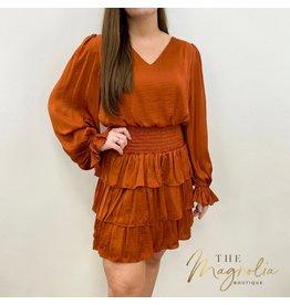 Rust Long Sleeve Satin Dress