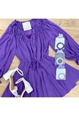Plum Long Sleeve V-Neck Dress