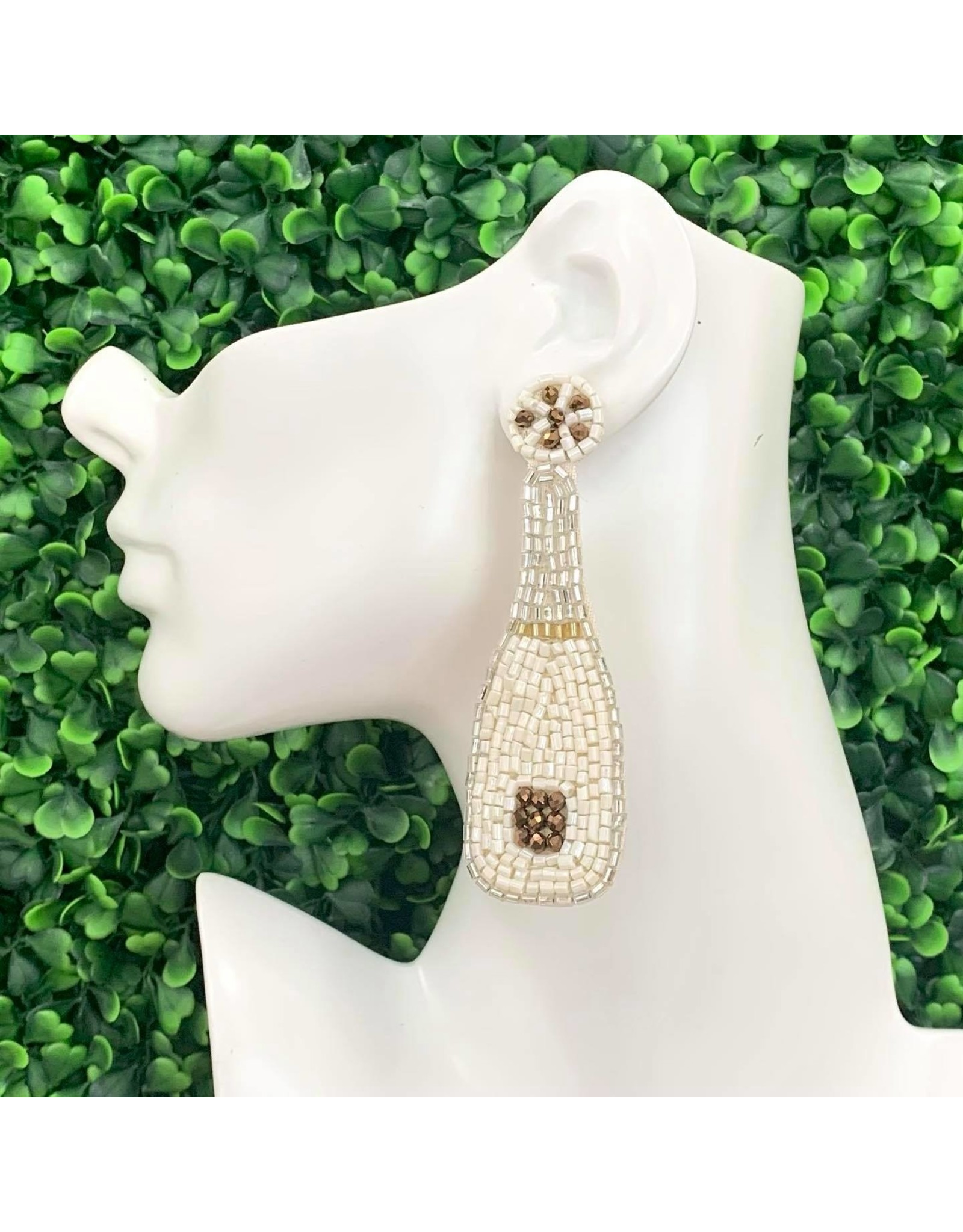 Champagne Bottle Beaded Earrings