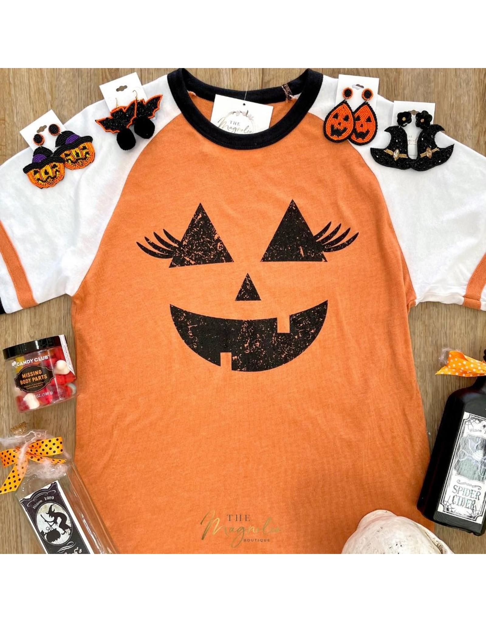 Halloween Pumpkin Face Ringer Tee