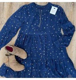 Girls Sheer Foil Star Print Dress