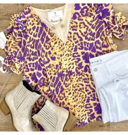 Purple/Lt Gold Animal Ruched Top