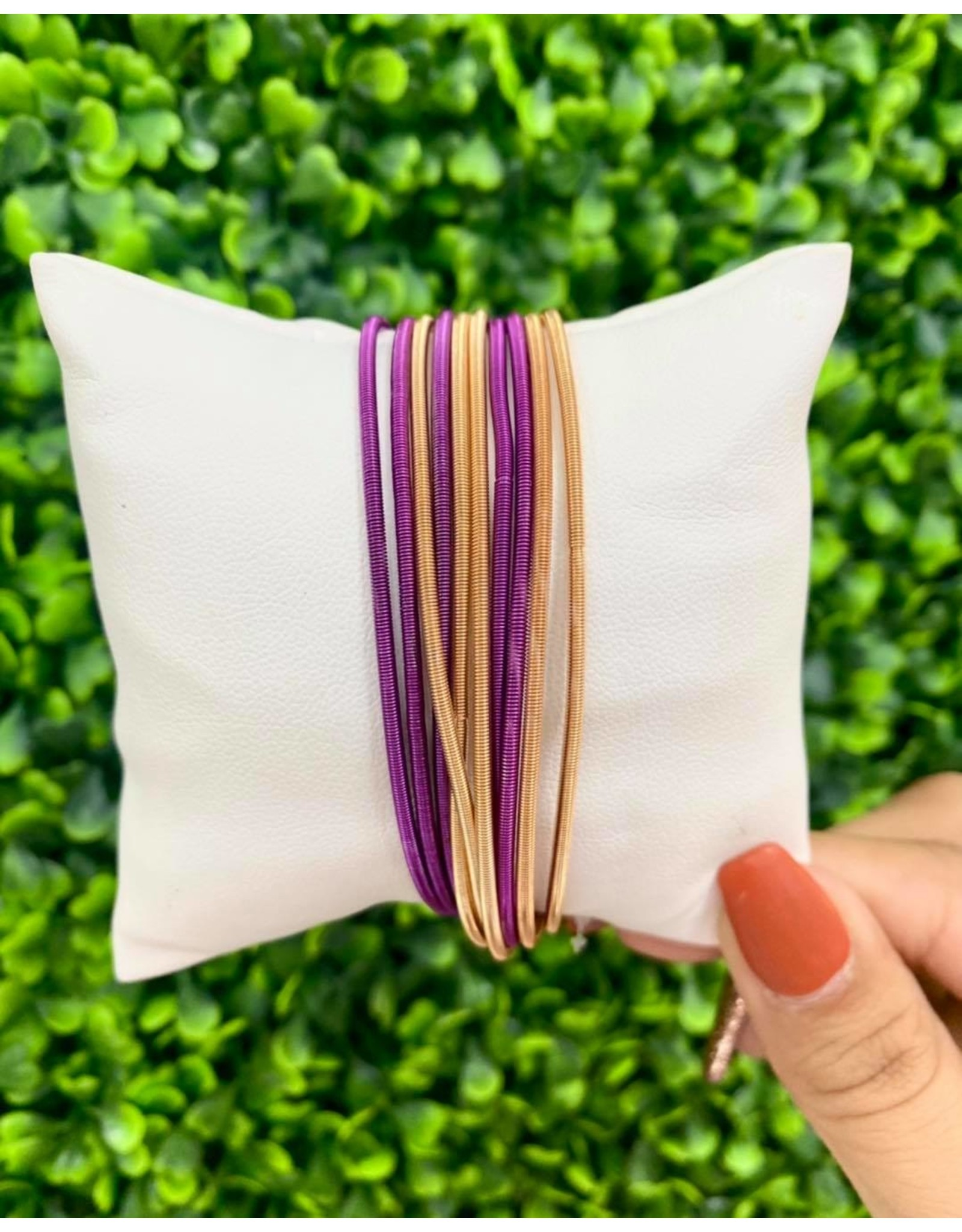 Purple/Gold Mix Guitar String Bracelets - Set of 10