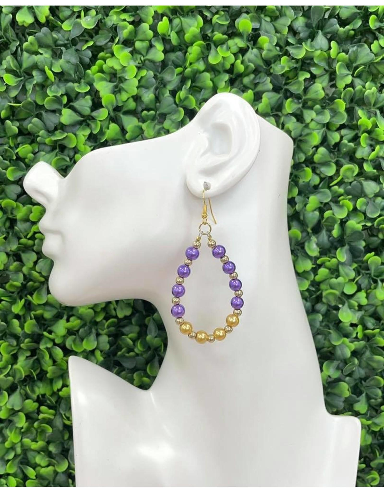 Purple/Gold Pearl Teardrop Earrings
