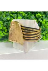Black/Gold Leather Magnetic Strap Bracelet