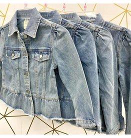 Girls Peplum Ruffle Denim Jacket