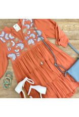 Terra Cotta Embroidered Tiered Dress