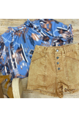 Camel Washed Button Down Shorts