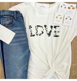 Girls Love Printed Twist T Shirt