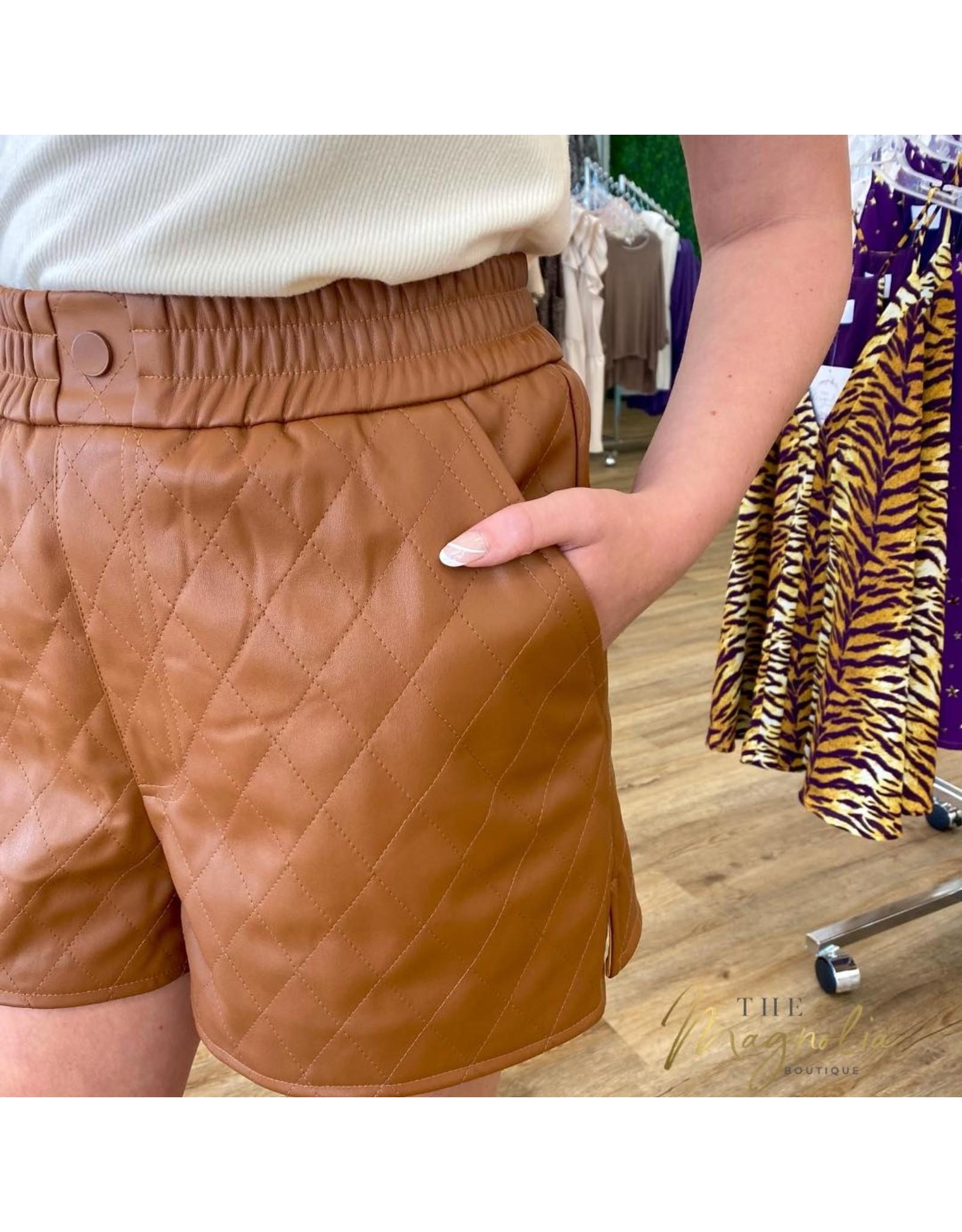 Camel Faux Leather Diamond Stitch Shorts