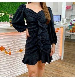 Black Jacquard Satin Dress