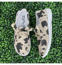 Cream Black Sparkly Cow Slip-Ons