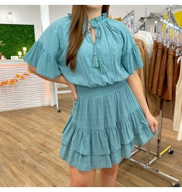 Moody Blue Layered Tiered Dress