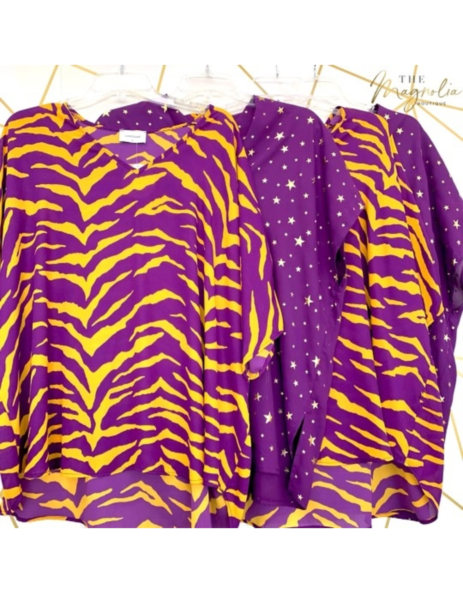 Purple/Mustard Print Oversized Top