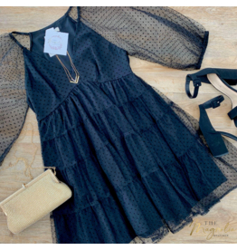Black Sheer V-Neck Dress