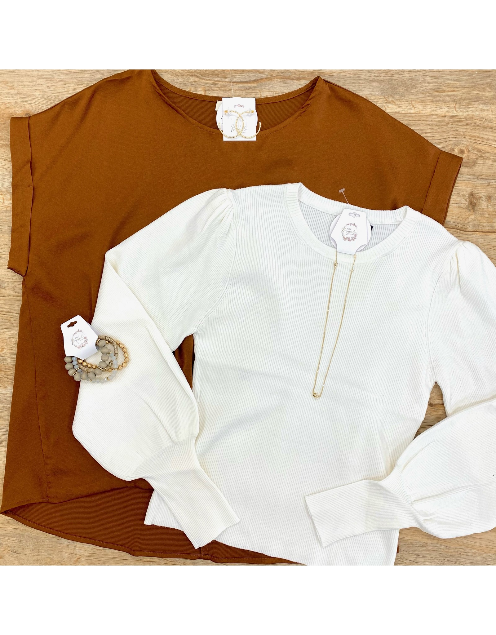 White Puff Sleeve Sweater