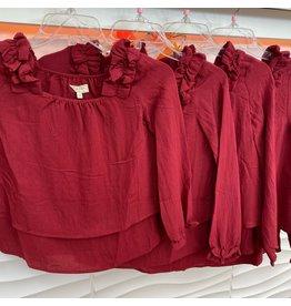 Girls Burgundy Pleated Shoulder Long Sleeve Top