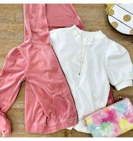 Girls Pink Corduroy Jacket Hoodie