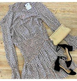 Taupe Leopard Chiffon Dress