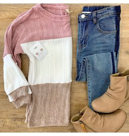 Girls Chunky Knit Colorblock Top