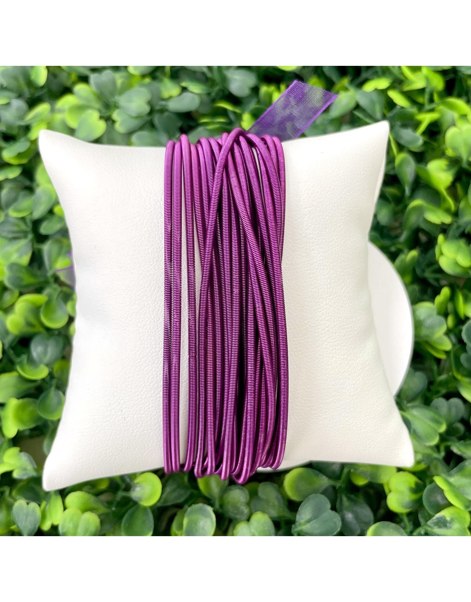 Purple Guitar String Bracelets - Set of 10