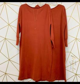 Rust Boatneck Sweater Dress