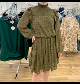 Olive Floral Long Sleeve Dress