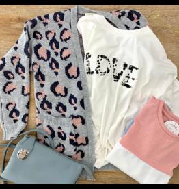Girls Charcoal Leopard Knit Sweater Cardigan