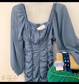 Dusty Blue Long Sleeve Swiss Dot Dress